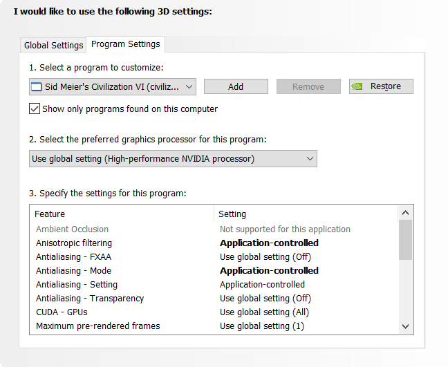 Civ 6 NVIDIA control panel settings/temperature