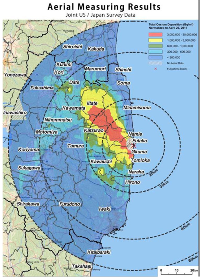 Fukushima radiation fallout vs Chernobyl visualized ...