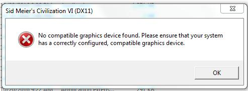 Civ VI no compatible graphic device | CivFanatics Forums